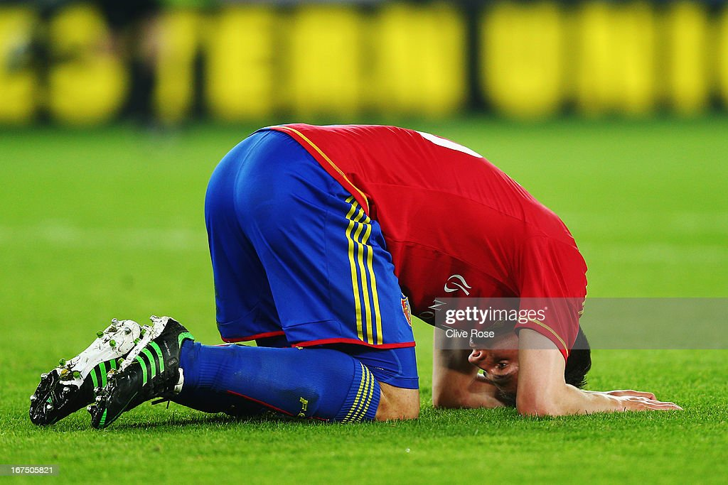 Fabian Schar of FC Basel reacts at full time during the UEFA Europa League Semi Final First Leg match between FC Basel 1893 and Chelsea at St. Jakob Stadium on April 25, 2013 in Basel, Switzerland.