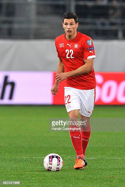 Fabian Schar of Switzerland in action during the UEFA EURO 2016 qualifier between Switzerland and San Marino at AFG Arena on October 9 2015 in St...