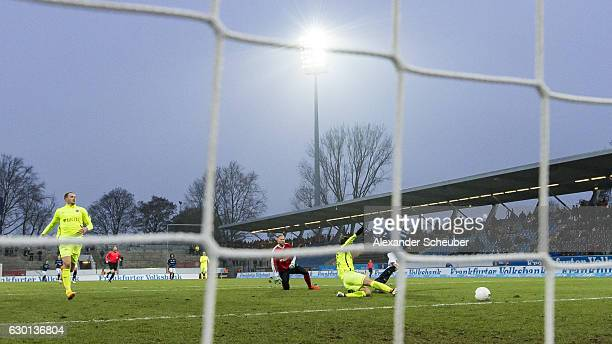 Fabian Schleusener of FSV Frankfurt scores the third goal for his team during the Third League match between FSV Frankfurt and Wehen Wiesbaden at...