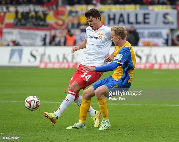 Fabian Schoenheim of 1 FC Union Berlin and Havard Nielsen of Eintracht Braunschweig in action during the game between Eintracht Braunschweig and...
