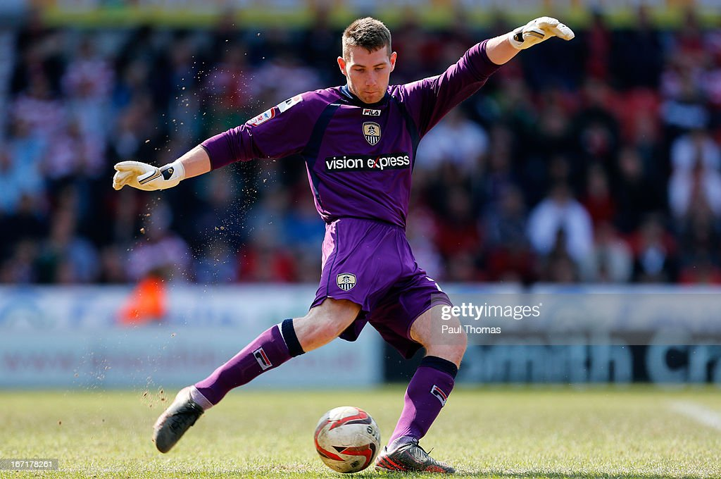 Fabian Spiess of Notts County in action during the npower League One match between Doncaster Rovers and Notts County at the Keepmoat Stadium on April 20, 2013 in Doncaster, England.