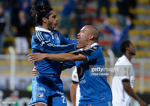 Fabian Vargas and Andres Felipe Cadavid of Millonarios celebrates a scored goal against Equidad FC during a match between Millonarios and Equidad FC...