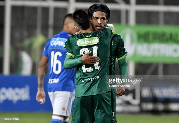 Fabian Vargas and Walmer Pacheco of La Equidad celebrate after winning a match between Millonarios and La Equidad as part of round 18 of Liga Aguila...