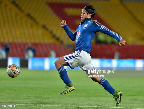 Fabian Vargas of Millonarios runs for the ball during a match between Millonarios and Jaguares FC as part of round 16 of Liga Aguila II 2015 at...