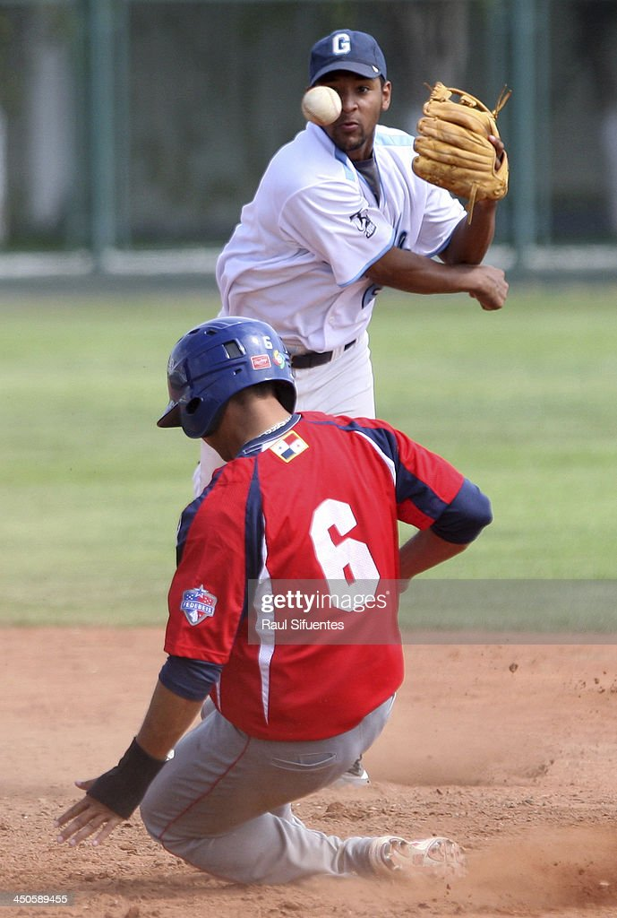Fabian Vizcaino (R) of Guatemala and Jeffer Pati–o (L) of Panama during the match between Panama and Guatemala as part of the XVII Bolivarian Games Trujillo 2013 at Villa Regional del Callao on November 19, 2013 in Lima, Peru.