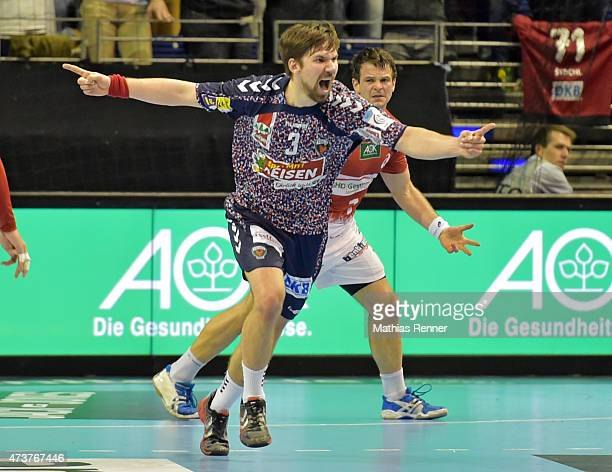 Fabian Wiede of Fuechse Berlin celebrates during the game between Fuechse Berlin and HSV Handball on may 17 2015 in Berlin Germany