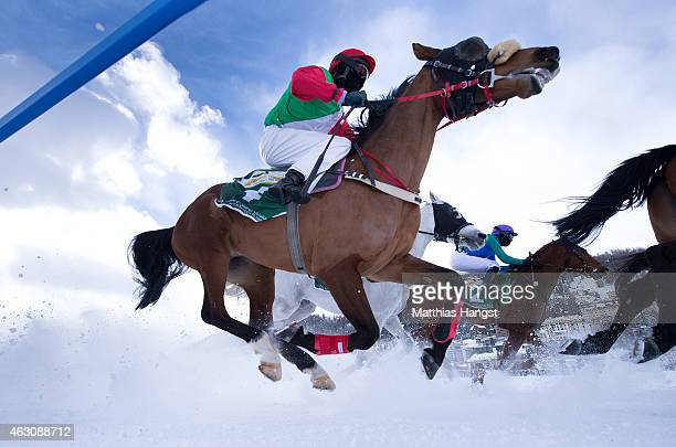 Fabian Xaver Weissmeier riding Madjy in action during the HH Sheikh Zayed bin Sultan al Nahyan Listed Cup Flat Race of the White Turf St Moritz on...