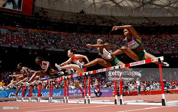 Fabiana Moraes of Brazil competes in the Women's 100 metres hurdles heats during day six of the 15th IAAF World Athletics Championships Beijing 2015...