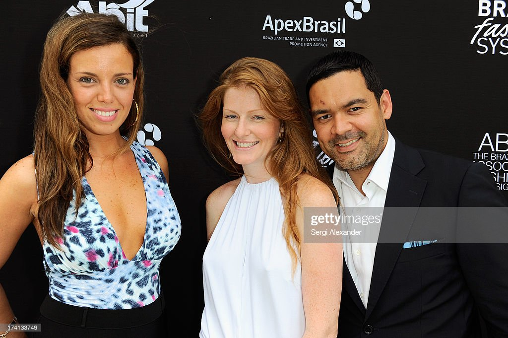 Fabiana Poula, Lisa Reidt, and Felix Polanco attend the ABEST & ABIT Brazilian Swimwear Designers Cocktail Party during Mercedes-Benz Fashion Week Swim 2014 at The Raleigh on July 20, 2013 in Miami, Florida.