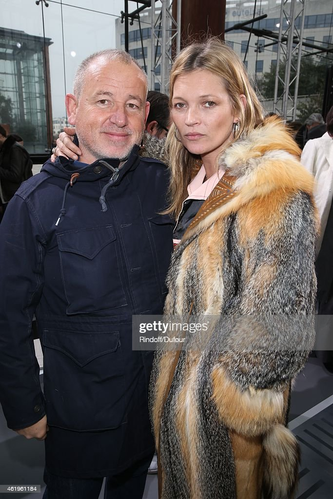 Fabien Baron and Kate Moss attend the Louis Vuitton Menswear Fall/Winter 2015-2016 Show as part of Paris Fashion Week on January 22, 2015 in Paris, France.