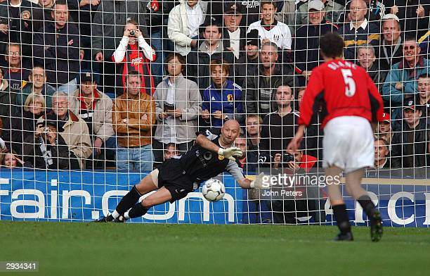 Fabien Barthez saves a penalty shot from Steve Malbranque during the FA Barclaycard Premiership match between Fulham v Manchester United at Loftus...