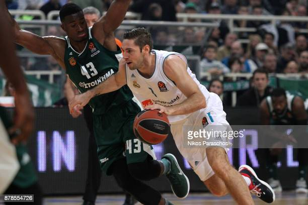 Fabien Causeur #1 of Real Madrid competes with Athanasios Antetokounmpo #43 of Panathinaikos Superfoods Athens during the 2017/2018 Turkish Airlines...