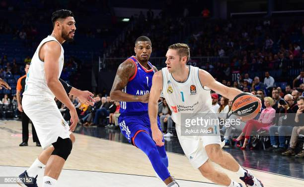 Fabien Causeur #1 of Real Madrid in action during the 2017/2018 Turkish Airlines EuroLeague Regular Season Round 1 game between Anadolu Efes Istanbul...