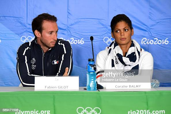 Fabien Gilot and Coralie Balmy in press conference during Swimming on Olympic Games 2016 in Rio at Olympic Aquatics Stadium on August 13 2016 in Rio...