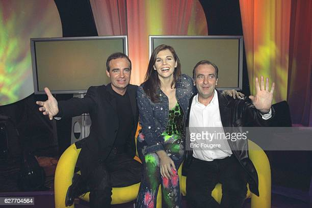 Fabien Lecoeuvre Veronika Loubry and Yves Lecoq on the television show 'Generation 70' which will be broadcast on France 2 in the January 12 2002