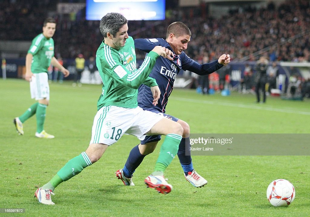 Fabien Lemoine of AS Saint-Etiennne and Marco Verratti of Paris Saint-Germain FC during the French Ligue 1 between Paris Saint-Germain FC and AS Saint-Etienne, at Parc des Princes on November 03, 2012 in Paris, France.