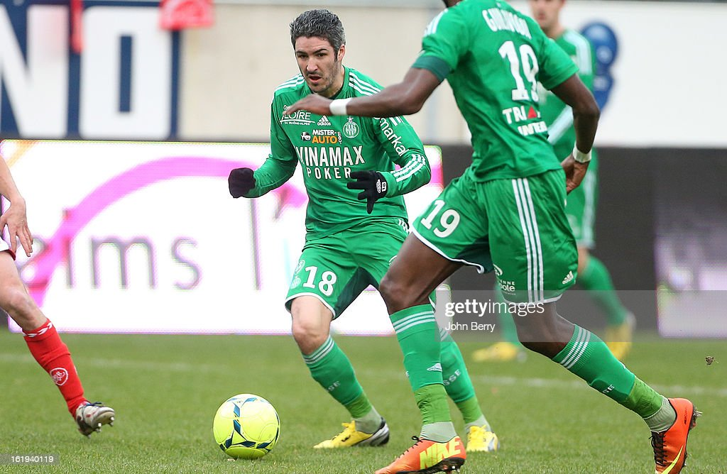 <a gi-track='captionPersonalityLinkClicked' href=/galleries/search?phrase=Fabien+Lemoine&family=editorial&specificpeople=4784581 ng-click='$event.stopPropagation()'>Fabien Lemoine</a> of ASSE in action during the french Ligue 1 match between Stade de Reims and AS Saint-Etienne at the Stade Auguste Delaune on February 17, 2013 in Reims, France.