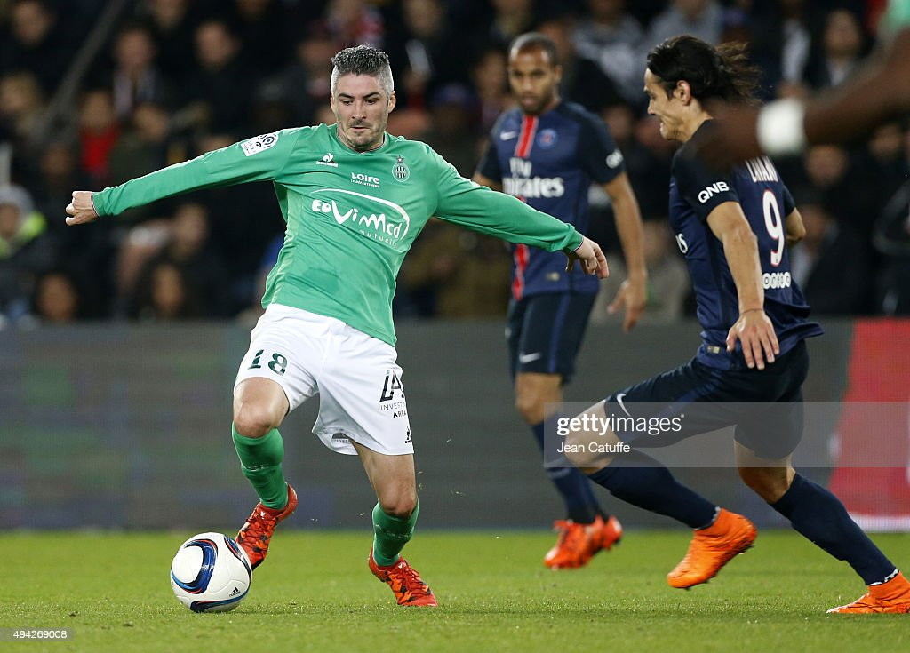 <a gi-track='captionPersonalityLinkClicked' href=/galleries/search?phrase=Fabien+Lemoine&family=editorial&specificpeople=4784581 ng-click='$event.stopPropagation()'>Fabien Lemoine</a> of Saint-Etienne and <a gi-track='captionPersonalityLinkClicked' href=/galleries/search?phrase=Edinson+Cavani&family=editorial&specificpeople=4104253 ng-click='$event.stopPropagation()'>Edinson Cavani</a> of PSG in action during the French Ligue 1 match between Paris Saint-Germain (PSG) and AS Saint-Etienne (ASSE) at Parc des Princes stadium on October 25, 2015 in Paris, France.