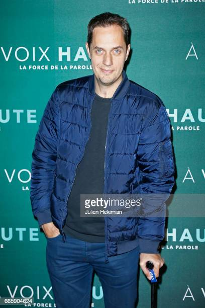 Fabien Marsaud aka Grand Corps Malade attends 'A voix haute' documentary screening Premiere at Cinema Max Linder on April 7 2017 in Paris France
