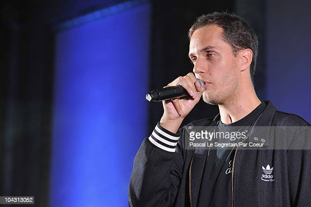 Fabien Marsaud known as 'Grand Corps Malade' performs during the Par Coeur Gala 2010 in collaboration with Georges Rech and Frederique Constant...