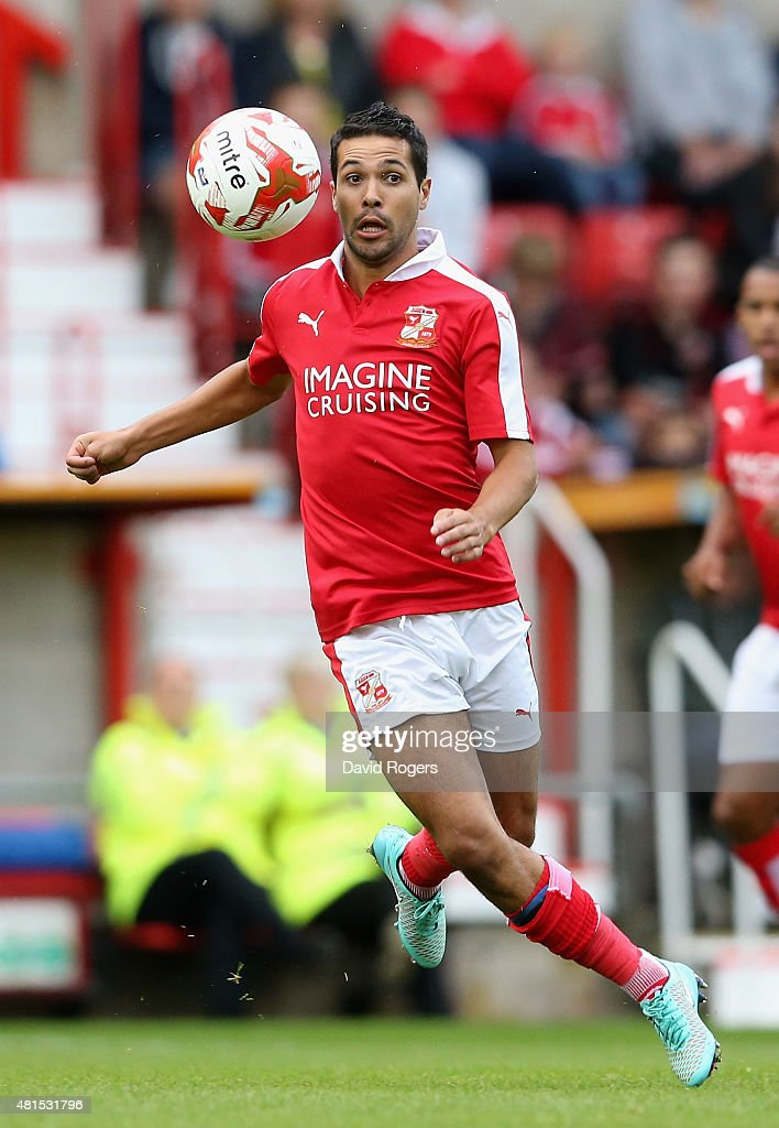 Fabien Robert of Swindon Town controls the ball during the pre season friendly match between Swindon Town and Aston Villa at the County Ground on...