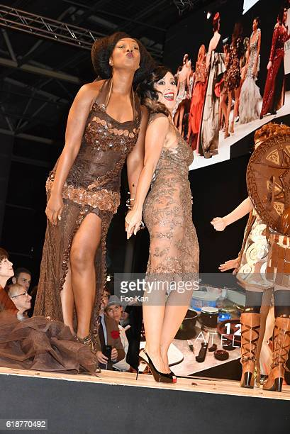 Fabienne Carat dressed by Jean Paul Benielli and chocolated by Patrice ChaponÊ and Nadege Beausson Diagne dressed by Angelique godet and chocolated...
