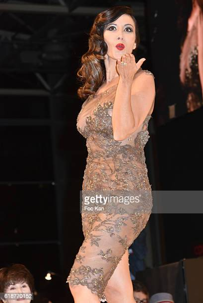 Fabienne Carat dressed by Jean Paul Benielli and chocolated by Patrice Chapon walks the runway during the Chocolate fashion show as a part of the...