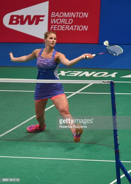 Fabienne Deprez of Germany competes against Gregoria Mariska Tunjung of Indonesia during Womens single qualification round match of the BCA Indonesia...