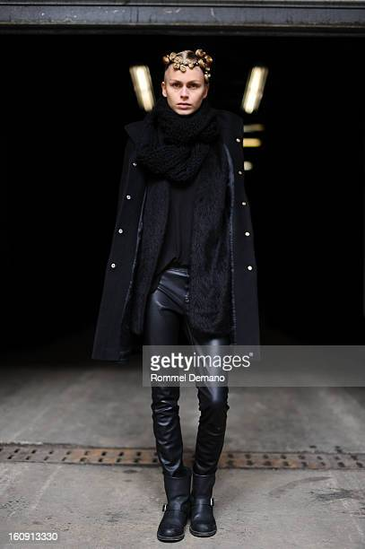 Fabienne Hagedorn Model from Supreme Agency attends the Kimberly Ovitz show wearing vintage scarf Zara jacket and Frye shoes on February 7 2013 in...
