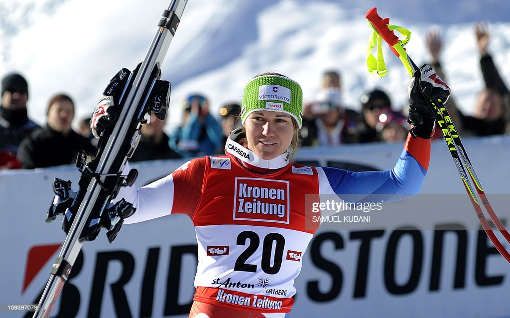 Fabienne Suter of Switzerland celebrates her third place in finish area of the women's World Cup Super G January 13, 2013 in St Anton am Arlberg. Slovenian Tina Maze won the event ahead of Austrian Anna Fenninger and Fabienne Suter of Switzerland.