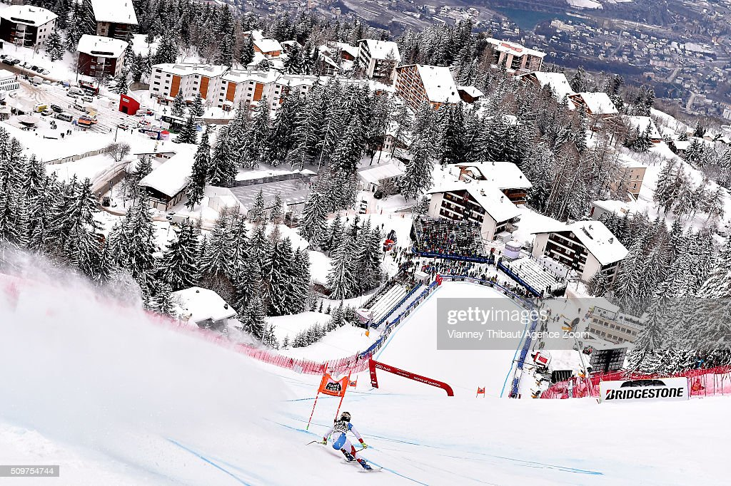 <a gi-track='captionPersonalityLinkClicked' href=/galleries/search?phrase=Fabienne+Suter&family=editorial&specificpeople=4140509 ng-click='$event.stopPropagation()'>Fabienne Suter</a> of Switzerland competes during the Audi FIS Alpine Ski World Cup Women's Downhill Training on February 12, 2016 in Crans Montana, Switzerland.