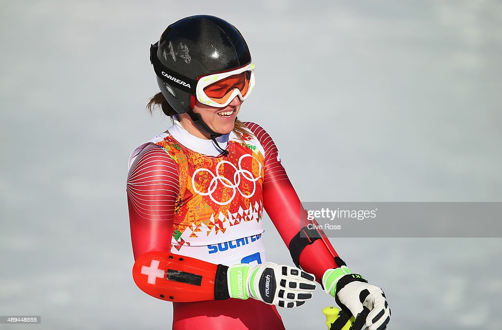 <a gi-track='captionPersonalityLinkClicked' href=/galleries/search?phrase=Fabienne+Suter&family=editorial&specificpeople=4140509 ng-click='$event.stopPropagation()'>Fabienne Suter</a> of Switzerland reacts after a run during the Alpine Skiing Women's Super-G on day 8 of the Sochi 2014 Winter Olympics at Rosa Khutor Alpine Center on February 15, 2014 in Sochi, Russia.