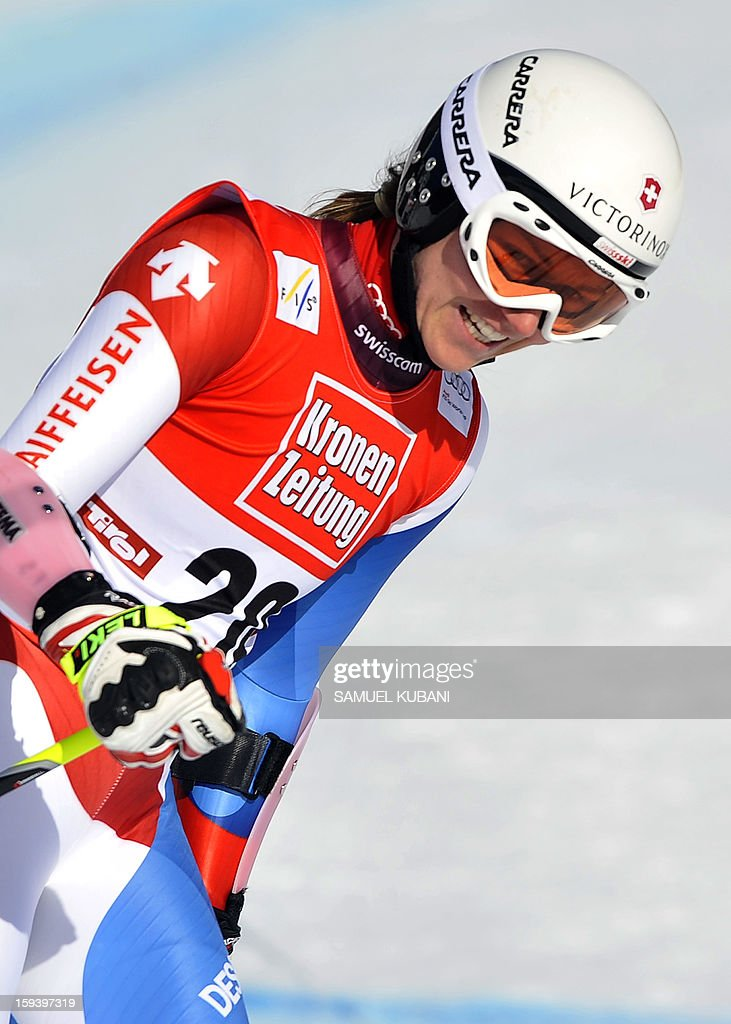 Fabienne Suter of Switzerland reacts in finish area at the women's World Cup Super G, on January 13, 2013 in St Anton am Arlberg, Austria. Slovenia's Tina Maze won ahead of Austria's Anna Fenninger and Switzerland's Fabienne Suter.
