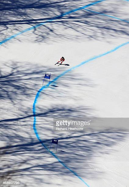 Fabienne Suter of Switzerland skis during the Alpine Skiing Women's Downhill on day 5 of the Sochi 2014 Winter Olympics at Rosa Khutor Alpine Center...