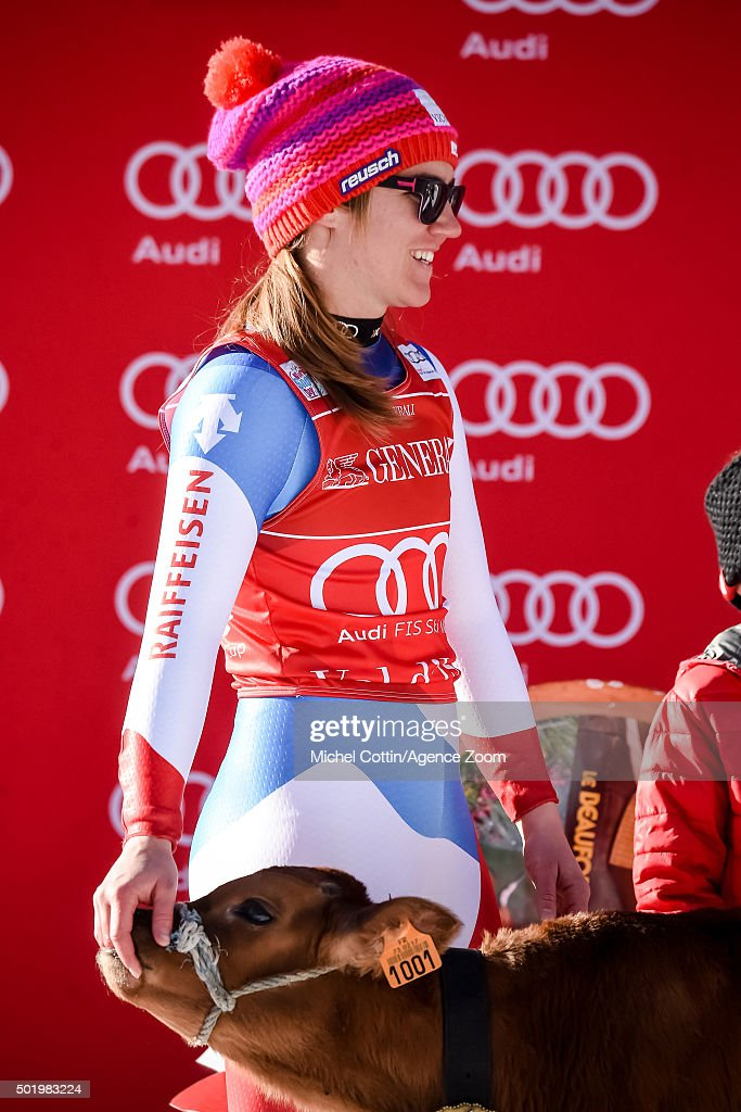 <a gi-track='captionPersonalityLinkClicked' href=/galleries/search?phrase=Fabienne+Suter&family=editorial&specificpeople=4140509 ng-click='$event.stopPropagation()'>Fabienne Suter</a> of Switzerland takes 2nd place during the Audi FIS Alpine Ski World Cup Women's Downhill on December 19, 2015 in Val dâIsere, France.