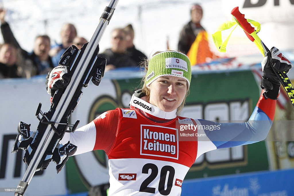 Fabienne Suter of Switzerland third placed racer during the prize giving ceremony for the Audi FIS Alpine Ski World Cup Super Giant Slalom (SuperG) race on January 13, 2013 in St Anton, Austria.