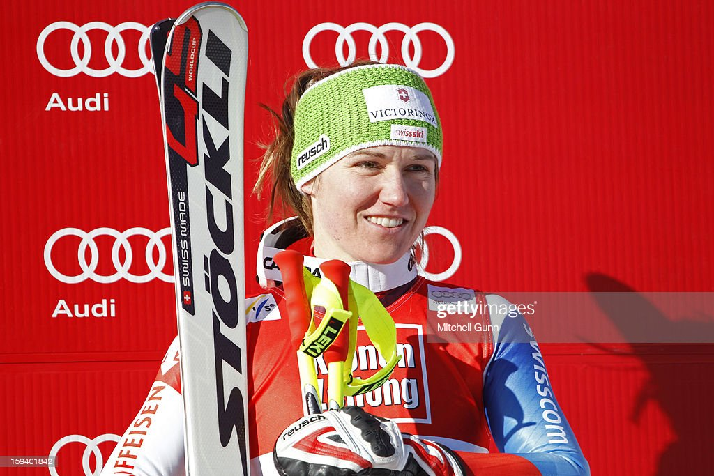 <a gi-track='captionPersonalityLinkClicked' href=/galleries/search?phrase=Fabienne+Suter&family=editorial&specificpeople=4140509 ng-click='$event.stopPropagation()'>Fabienne Suter</a> of Switzerland third placed racer during the prize giving ceremony for the Audi FIS Alpine Ski World Cup Super Giant Slalom (SuperG) race on January 13, 2013 in St Anton, Austria.