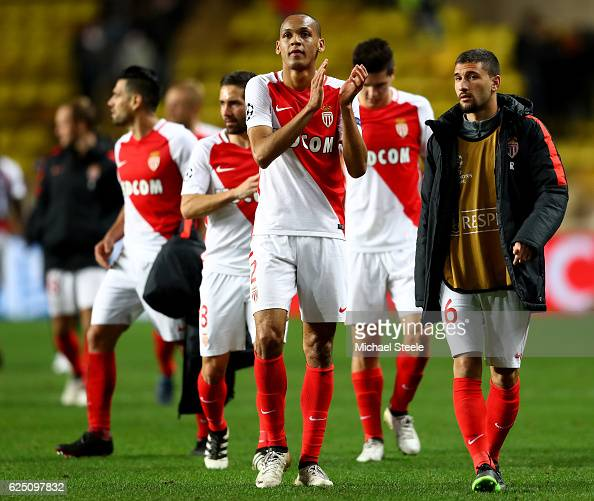 Fabinho of AS Monaco applauds the fans after the UEFA Champions League Group E match between AS Monaco FC and Tottenham Hotspur FC at Louis II...