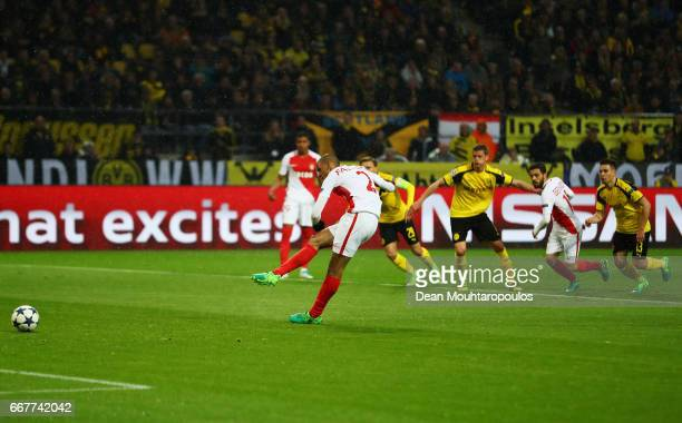 Fabinho of AS Monaco misses a penalty during the UEFA Champions League Quarter Final first leg match between Borussia Dortmund and AS Monaco at...