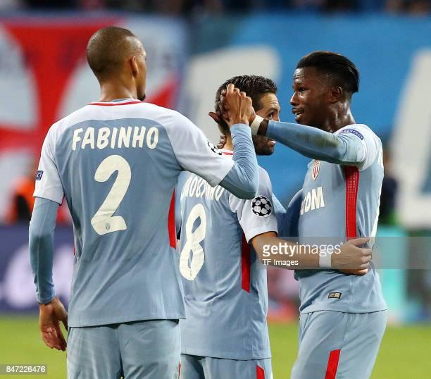 Fabinho of Monaco and Joao Moutinho of Monaco and Keita Balde of Monaco looks on during the UEFA Champions League group G match between RB Leipzig...