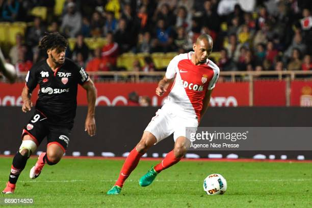 Fabinho of Monaco and Lois Diony of Dijon during the Ligue 1 match between As Monaco and Dijon FCO at Louis II Stadium on April 15 2017 in Monaco...