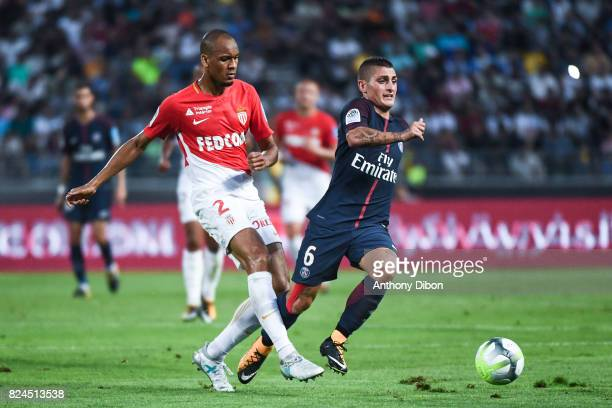 Fabinho of Monaco and Marco Verratti of PSG during the Champions Trophy match between Monaco and Paris Saint Germain at Stade IbnBatouta on July 29...