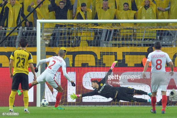 Fabinho of Monaco and Roman Bürki i of Dortmund battle for the ball during to the UEFA Champions League Quarter Final First Leg match between...