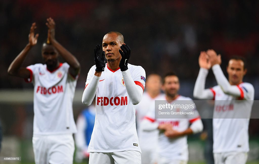 Fabinho of Monaco applauds the fans during the UEFA Champions League group C match between Bayer 04 Leverkusen and AS Monaco FC at BayArena on...