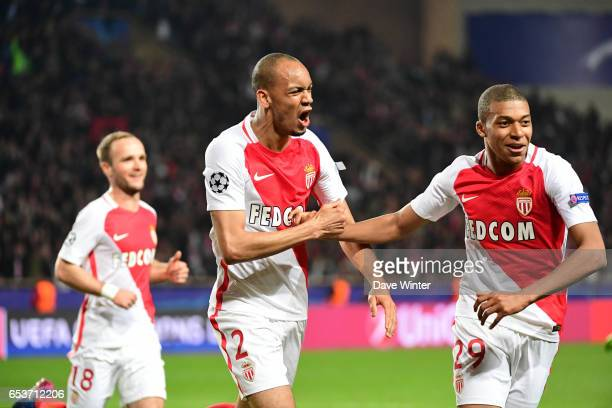 Fabinho of Monaco celebrates after putting his side 20 ahead during the Uefa Champions League match between As Monaco and Manchester City round of 16...