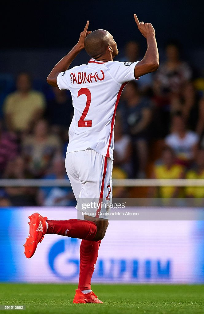 Fabinho of Monaco celebrates scoring his team's first goal during the UEFA Champions League playoff first leg match between Villarreal CF and AS...