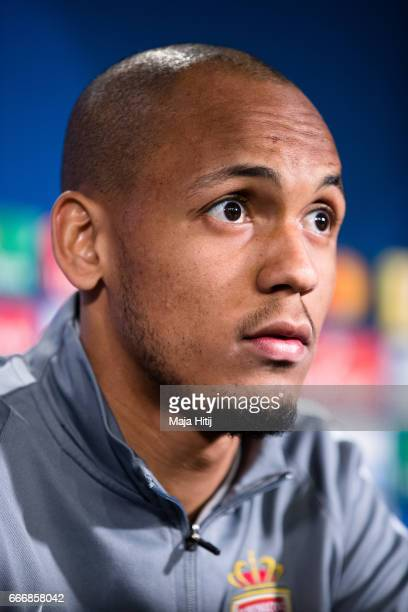 Fabinho of Monaco looks on during a press conference prior the UEFA Champions League Quarter Final First Leg match between Borussia Dortmund and AS...