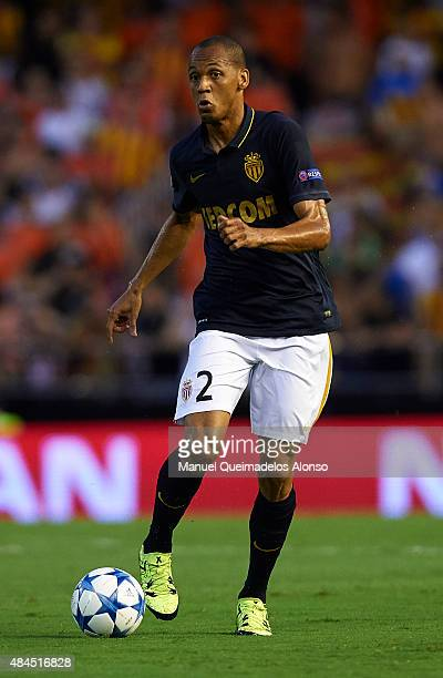 Fabinho of Monaco runs with the ball during the UEFA Champions League Qualifying Round Play Off First Leg match between Valencia CF and AS Monaco at...