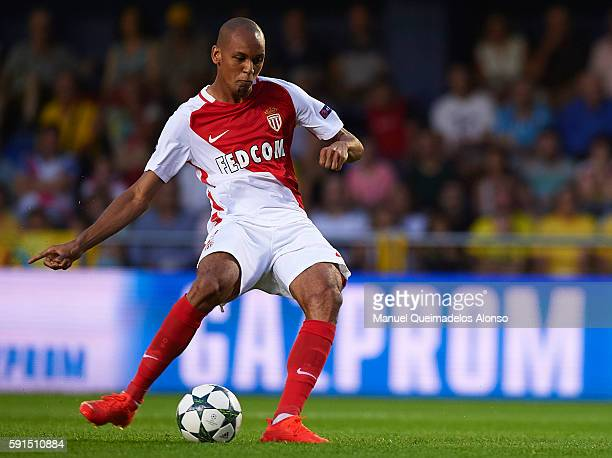 Fabinho of Monaco scores his team's first goal during the UEFA Champions League playoff first leg match between Villarreal CF and AS Monaco at El...