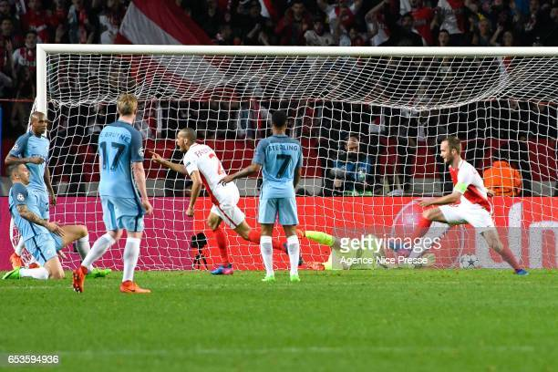 Fabinho of Monaco scores the goal to make 20 during the Uefa Champions League match between As Monaco and Manchester City Round of 16 second leg at...